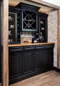 Portrait view of Wellborn Bedford black wine cellar.