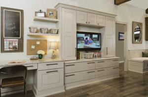 Wellborn Courtland cream color living room cabinet.