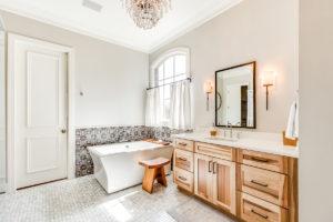 Wellborn Hanover Hickory bathroom area cabinet.