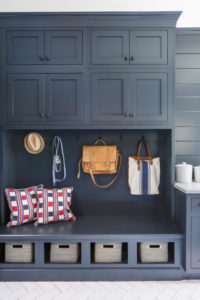 Wellborn Mudroom bags pillows and hats cabinet.