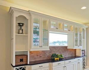Wellborn Seville white glass cabinet.