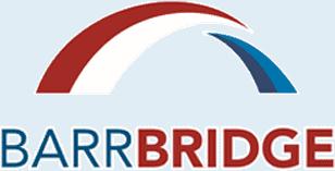 Barrbridge red and blue font logo